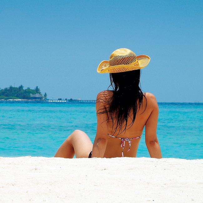 Sitting on beach